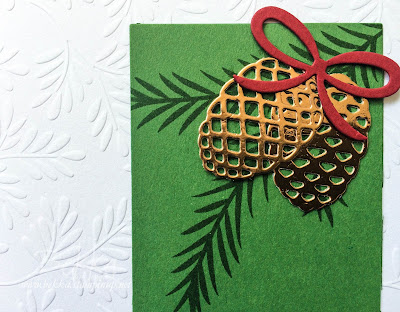Fast and Fabulous Christmas Card Made Using the Christmas Pines Stamps and Dies from Stampin' Up! UK.  Available here
