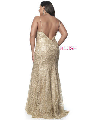 Sweetheart Blush Plus Size Prom Gold Color Dress back side