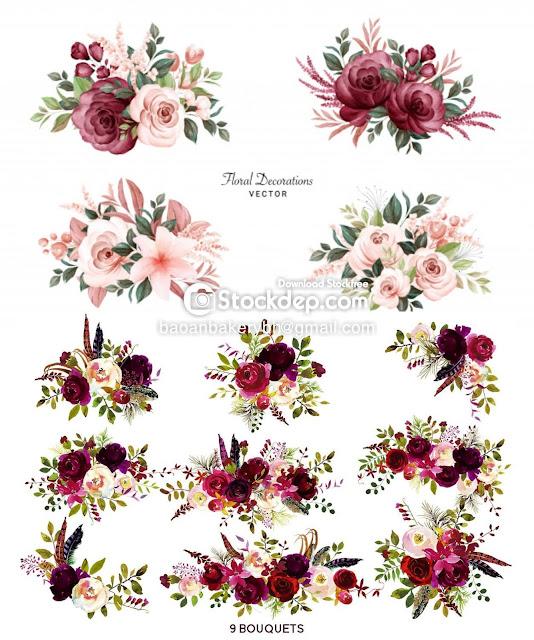 watercolor burgundy flowers free download