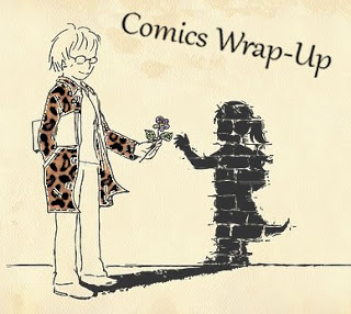 Comics Wrap-Up title image with manga-style woman in leopard-print coat (leopard-print coats are awesome) handing her living shadow a flower