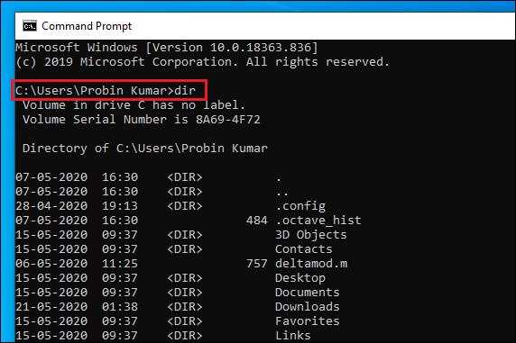dir command in Windows CMD.
