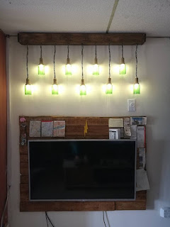 Lámparas recicladas con botellas de vidrio
