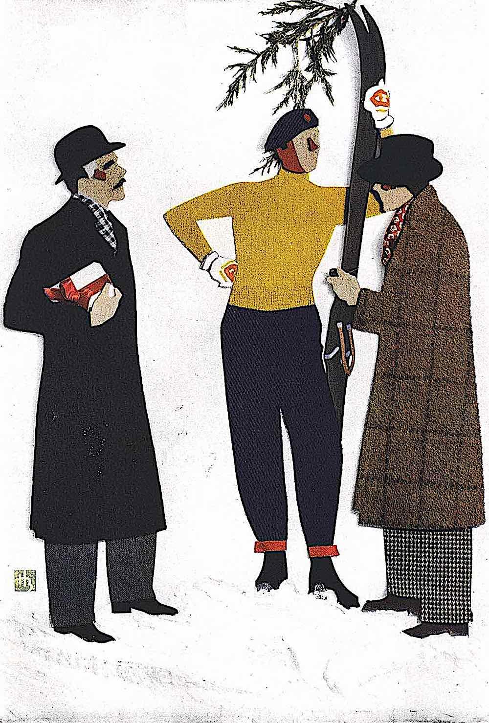 a 1934 papercut illustration of skiiers talking