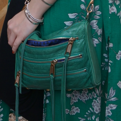 Rebecca Minkoff emerald green mini 5-zip rocker bag with floral duster | awayfromtheblue