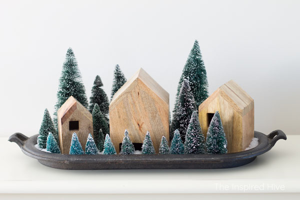 Winter decor idea! Hearth and Hand wooden nesting houses make a beautiful modern farmhouse Christmas village display with bottle brush trees!