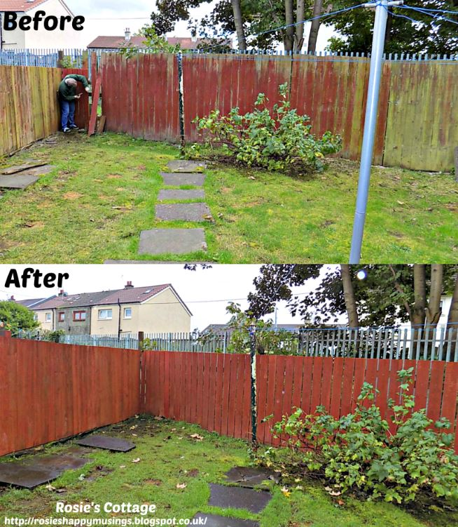 Back garden fence re-build - before & after