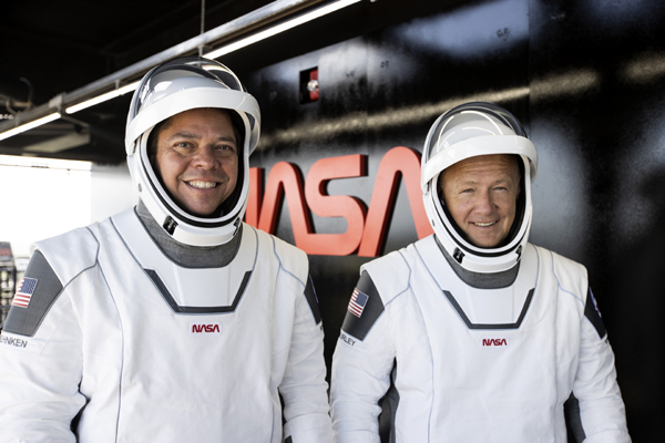 NASA astronauts Doug Hurley and Bob Behnken are suited up and ready to conduct the Demo-2 dry dress rehearsal at Kennedy Space Center's LC-39A...on May 23, 2020.