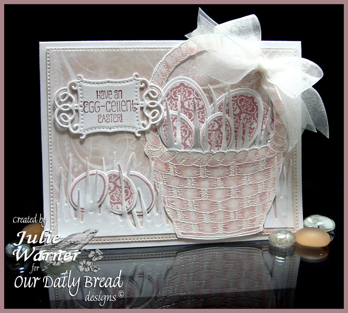 Stamps - Our Daily Bread Designs Basket of Blessings, Blessed Easter, ODBD Shabby Rose Paper Collection, ODBD Custom Eggs Dies, ODBD Custom Grass Border Dies, ODBD Custom Vintage Flourish Pattern Die, ODBD Custom Flourish Star Pattern Die