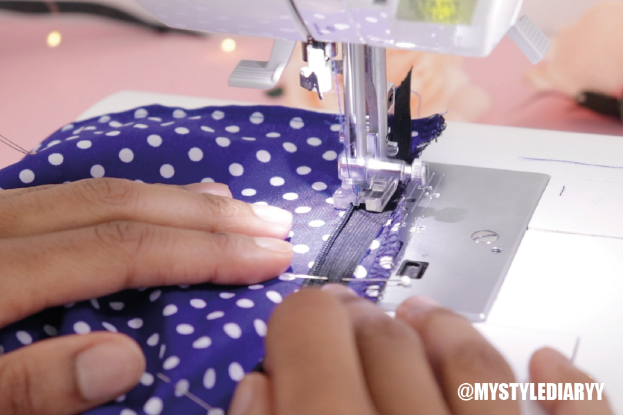 how to sew an blind zipper in an off the shoulder dress