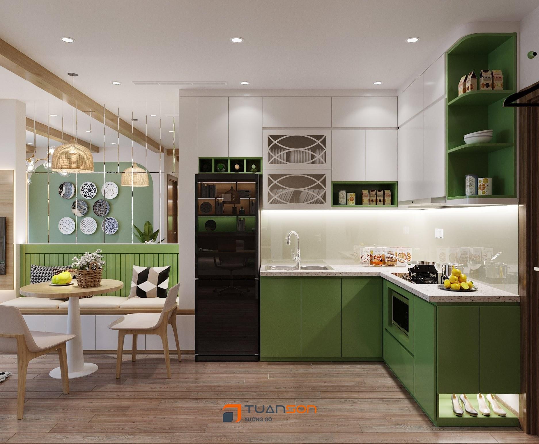 Mẫu thiết kế bếp căn hộ 1PN+1 (43m2) Vinhomes Ocean Park đẹp