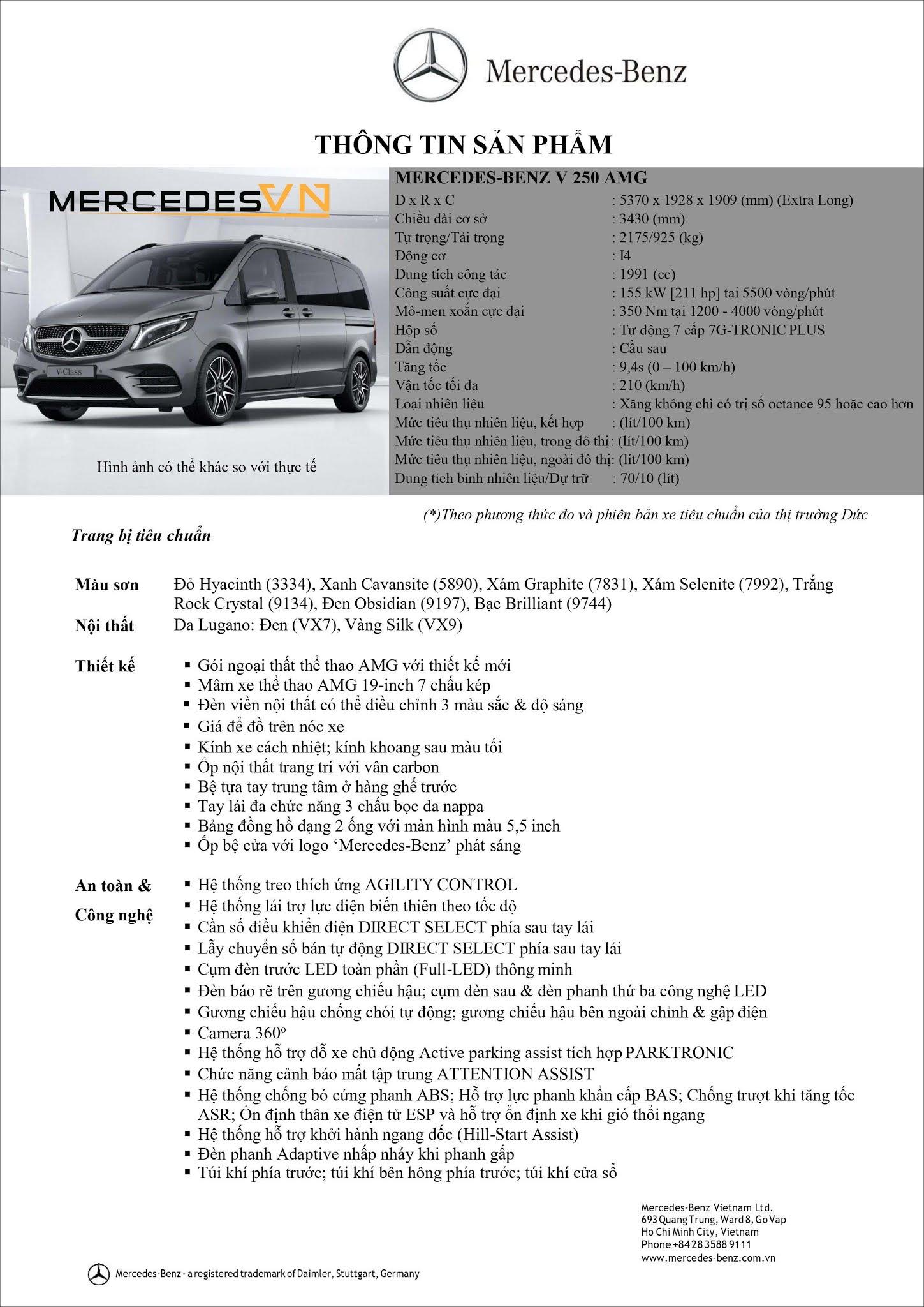 Bảng thông số kỹ thuật Mercedes V250 AMG 2021