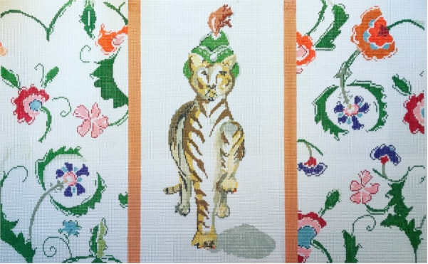 Majestic Tiger with feathered hat and floral boarder needlepoint canvas