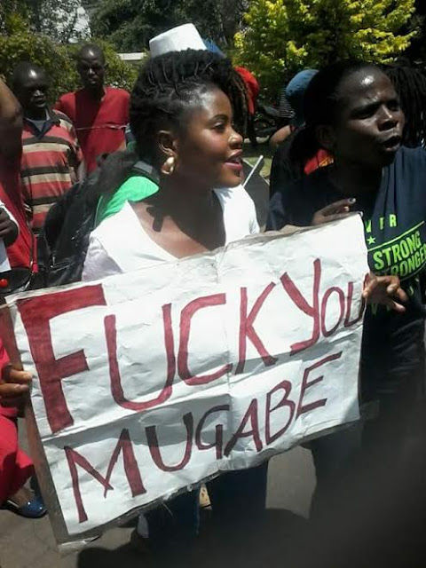 Photo: Lol.. This one is fed up with President Mugabe