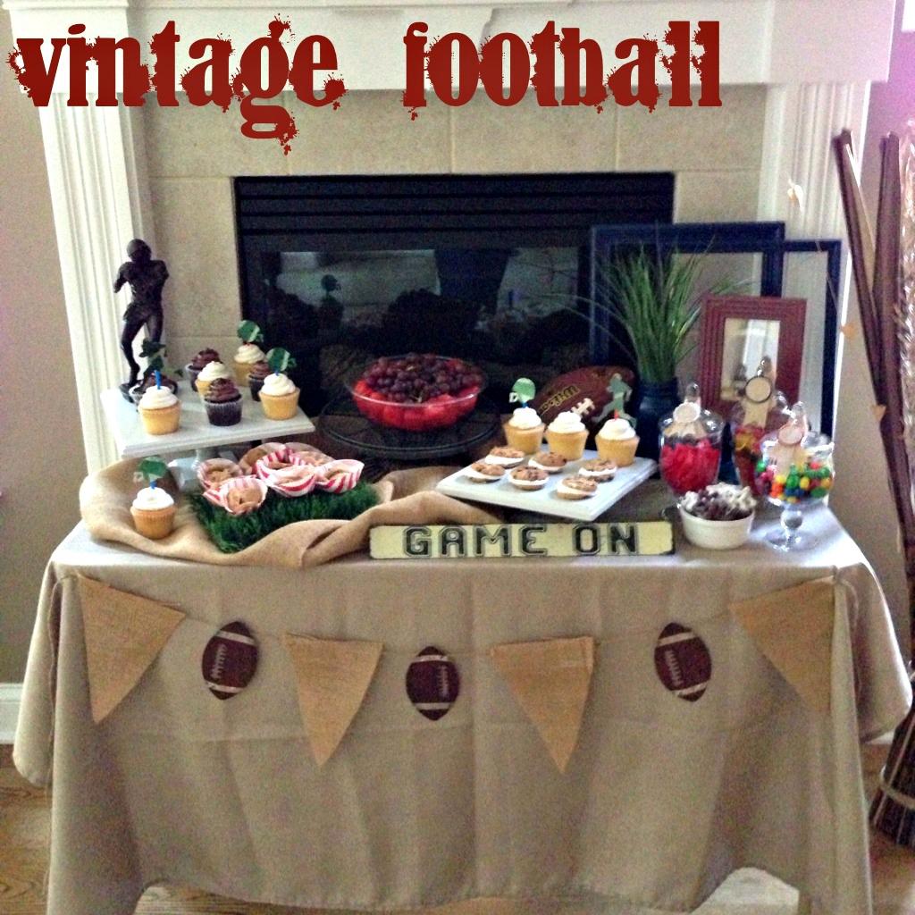 In Flight Party Ideas Vintage Football Dessert Table