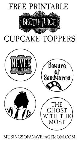 Beetlejuice cupcake toppers
