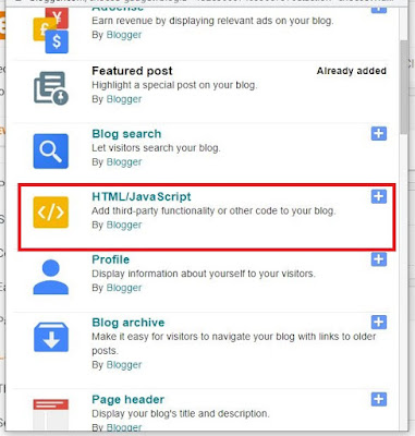 Add A Gadget On Blogger