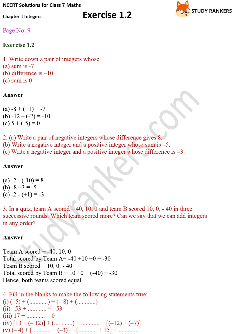 NCERT Solutions for Class 7 Maths Ch 1 Integers Exercise 1.2 1