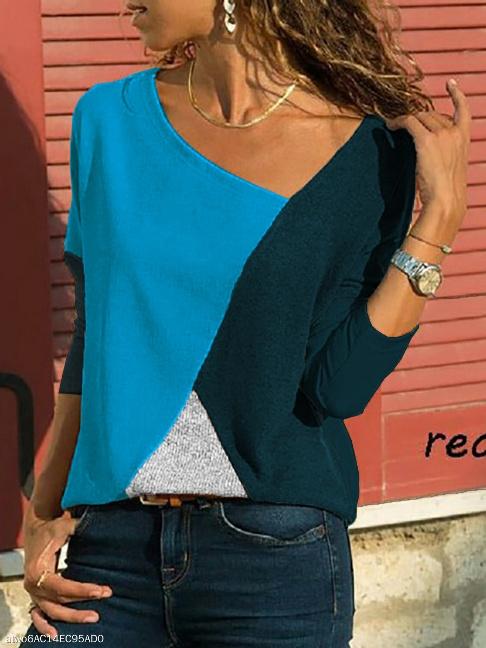 Asymmetric Neck Patchwork Contrast Stitching Sweatshirts - FashionMia Special Price: US$ 17.95