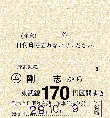 東武鉄道 常備軟券乗車券34 伊勢崎線 剛志駅(2017年)