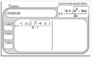 Quadratic Formula quick check template