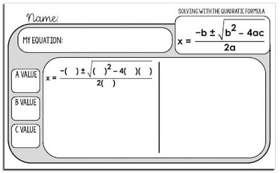 Free Quadratic Formula Warm-up Template