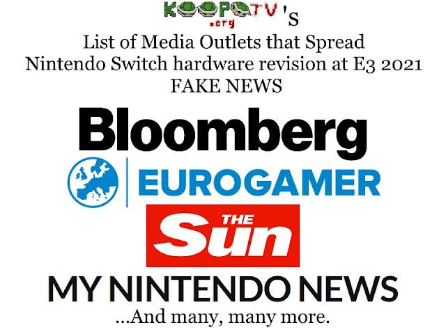 Super New Nintendo Switch Pro hardware revision fake news E3 2021 Bloomberg Eurogamer The Sun My Nintendo News