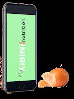 smartphone con la app de kibini nutrition y una naranja al lado