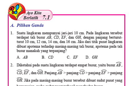 Pembahasan Ayo Kita Berlatih 7.1 Matematika Kelas 8 Hal 67-71 Bab 7 Lingkaran Semester 2