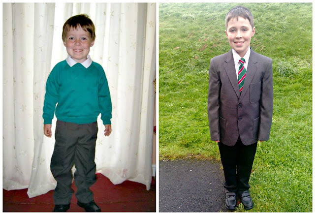 Collage of a child in primary and secondary school uniform, with the logos blurred out.