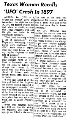 Texas Woman Recalls 'UFO' Crash in 1897 - Los Angeles Herald-Examiner 5-31-1973