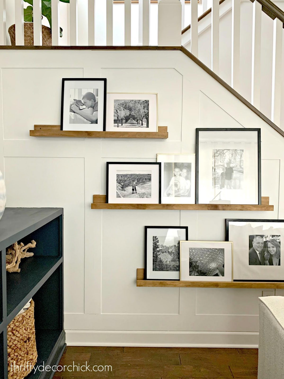 Simple and cheap board and batten wall stairway walls