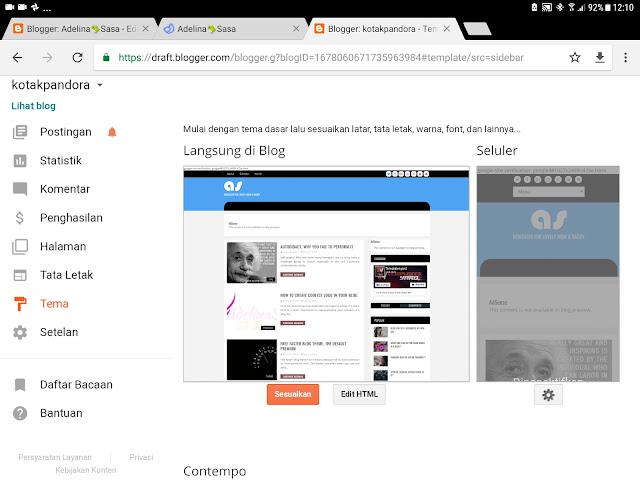 pengaturan atau dasbor blog 2