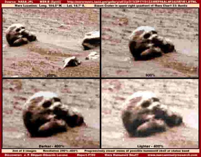 Imagen de un cráneo humanoide sobre la superficie de Marte