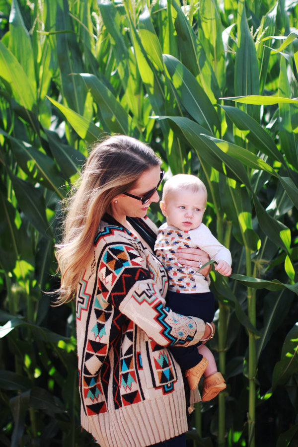 Coordinated mother-son style: geometric prints