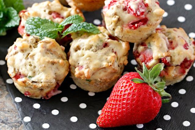 Homemade strawberry banana mint mini muffin dog treats