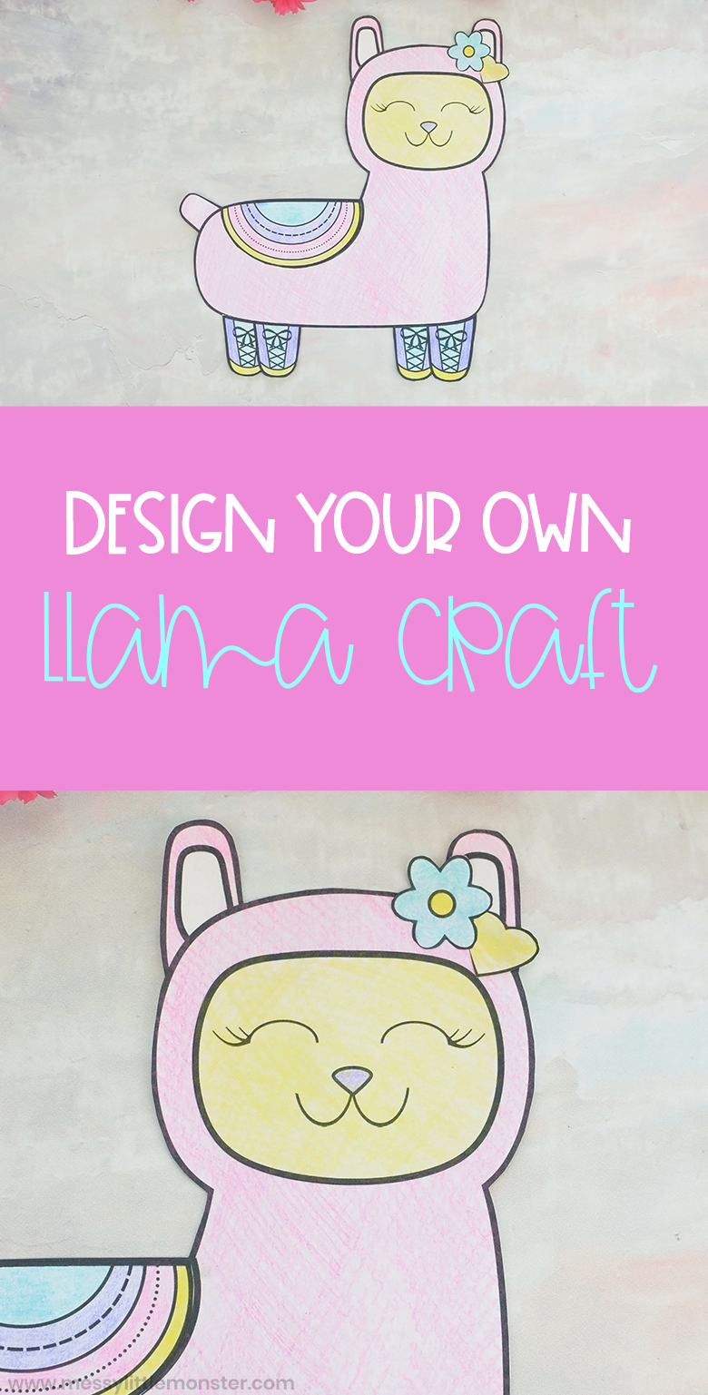 Design your own llama craft. Miix and match llama coloring pages for kids.