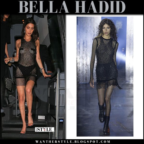 Bella Hadid in sheer black mini dress alexander wang at Met Gala afterparty 2017 what she wore
