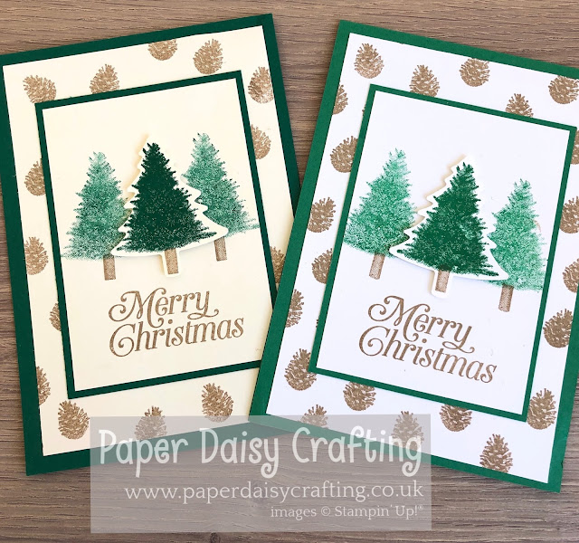 Paper Daisy Crafting Perfectly Plaid Pine Tree Punch Stampin Up.