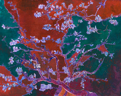 Almond Blossoms Abstract Art Red Green