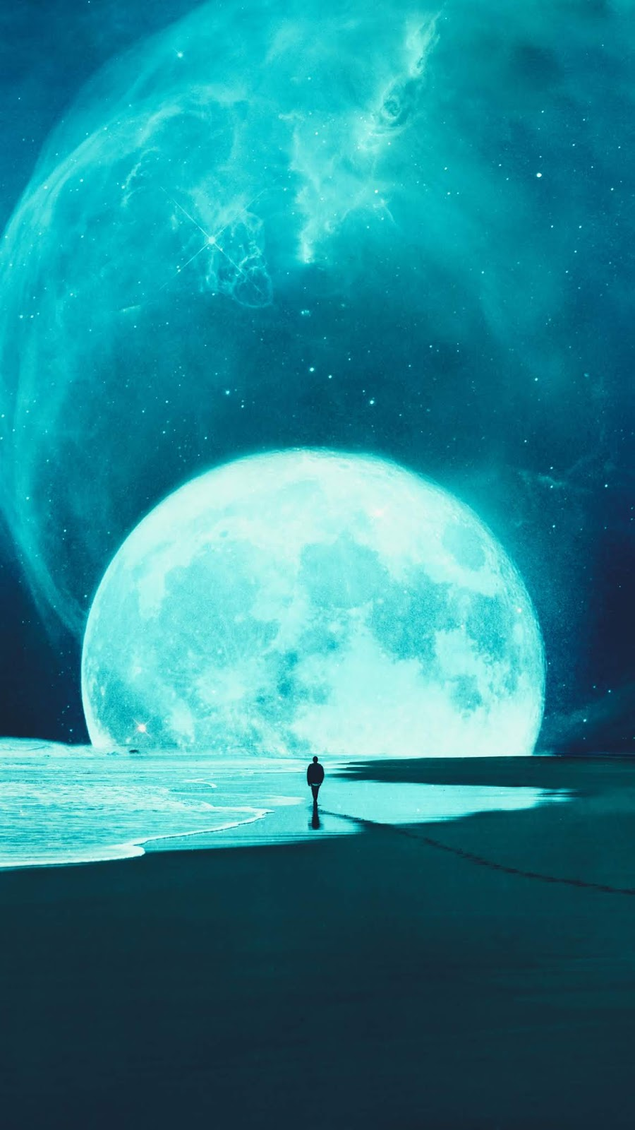Night beach under full moon