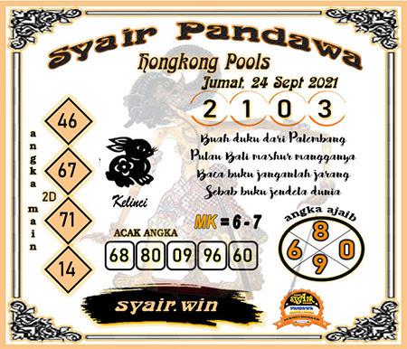 Syair Pandawa HK Jumat 24-Sep-2021