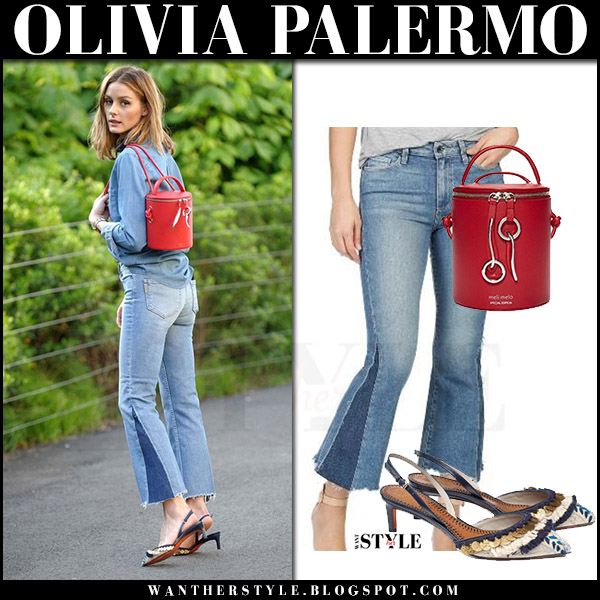 Olivia Palermo in denim shirt and flared cropped jeans with red bucket bag meli melo severine what she wore august 2017