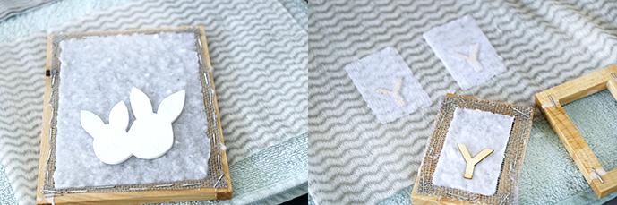 Moosgummivorlagen auf geschöpftem Papier. Vorlage auf ein Küchentuch gestürzt.