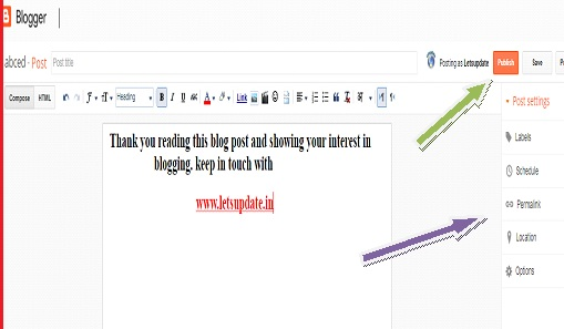 letsupdate, learn blogging-2020, for online money, new post creation Publishing in blogger