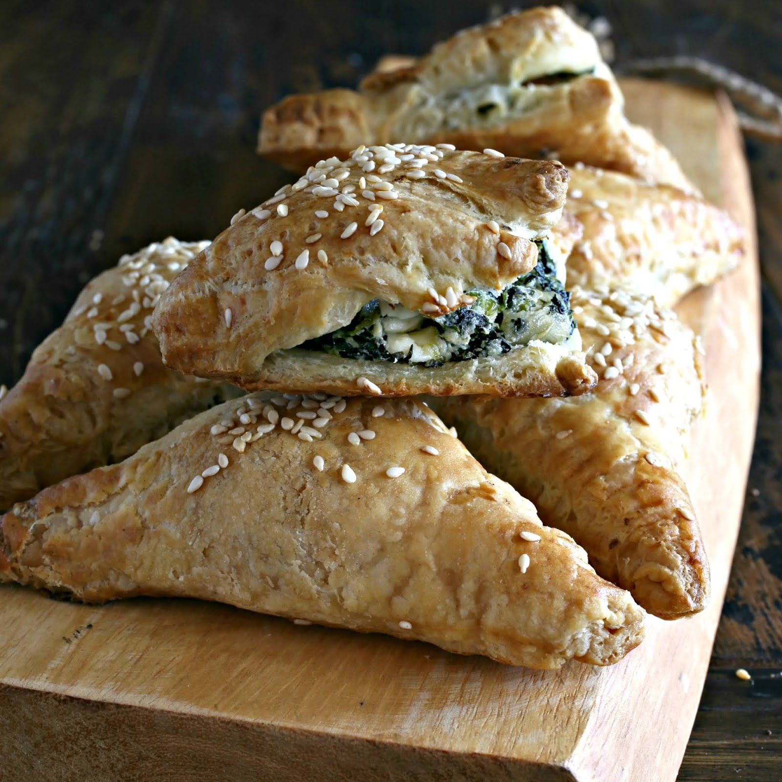 Savory puff pastry filled with spinach and feta cheese.