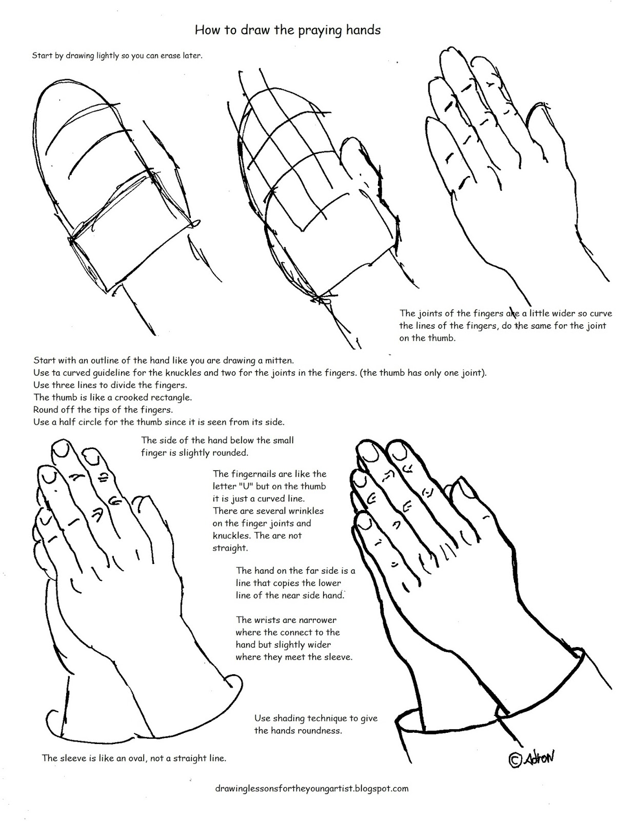 worksheet Joints Worksheet how to draw worksheets for the young artist printable praying hands worksheet