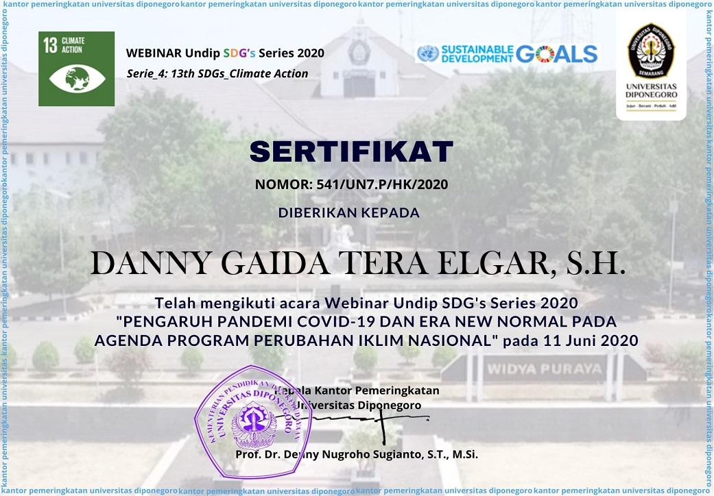 Piagam Penghargaan Sustainable Development Goals (SDGs) | Universitas Diponegoro (UNDIP) Semarang | Kamis, 11 Juni 2020