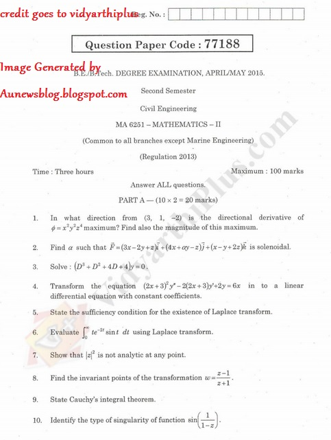 MA6251 Mathematics II May/June 2015 Question Papers (2nd Sem