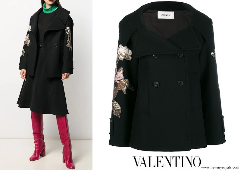 Grand Duchess Maria Teresa wore Valentino Floral Embroidered Double Breasted Wool Peacoat