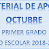 """MATERIAL DE APOYO """"octubre"""" 1° PRIMARIA ciclo escolar 2018-2019"""